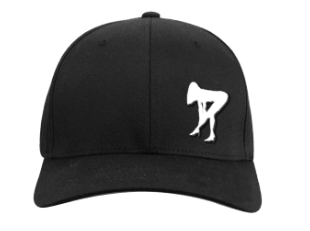 front view of a black hat