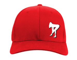 red cap with girl silhouette