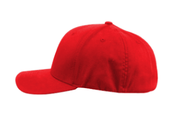 side view of a red cap